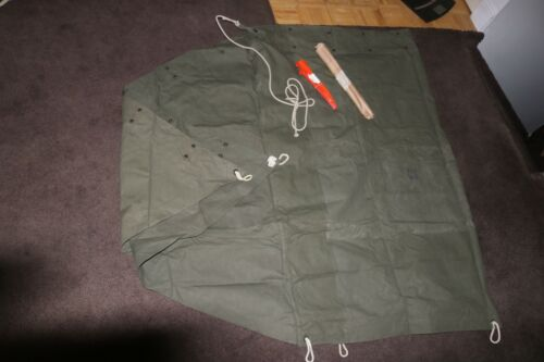 NOS unissued USGI OD Shelter Half with rope 3 pole sect. 5 stakes 1970s 80s