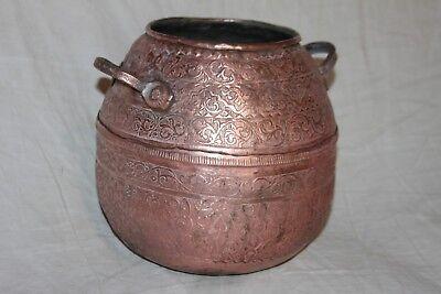 Rare Cauldron Oriental Copper Chiseled, Container Eau. XIX °