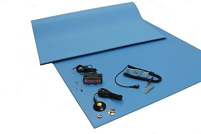 (3 Layer Vinyl ESD Anti-Static Mat kit-Dual Bench/Wrist Strap-18X24-Free Shipping)