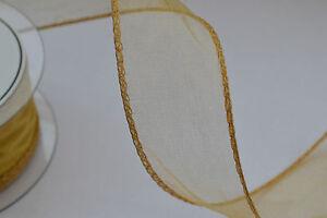 50mm wired organza chiffon ribbon flowers wedding 2 5 20m lengths CHOOSE COLOUR