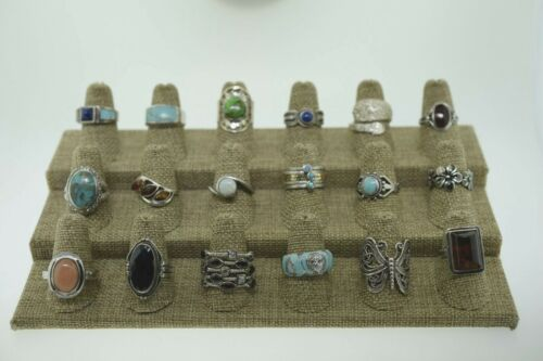 Lot of 18 Sterling Silver Multi Gemstone & Statement Rings Bands Various