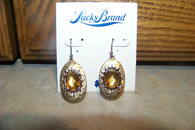 LUCKY BRAND Drop/Dangle Oval Earrings  Hammered Gold with Gold Faceted Stone  Hammered Gold Oval Earrings