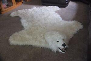 FAUX FAKE POLAR BEAR SKIN RUG VINTAGE TAXODERMY CABIN LODGE SHAGGY HOME FUR  78