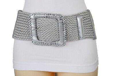 Women Hip Waist Metallic Silver Braided Wide Belt Big Square Buckle Size M L XL ()