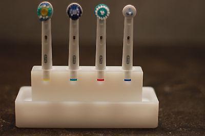 Zahnbürstenhalter aus Kunststoff für 4 Oral-B Aufsteckköpfe weiß NEU