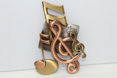 Beautiful Signed K&T 3-Tone Music Notes Treble Clef Music-Themed Brooch Pin K4 - Music Themed Dress Up
