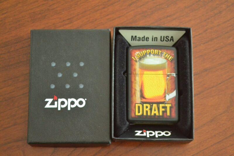 "ZIPPO Lighter, ""I Support the Draft"" Beer Mug, Black, Sealed, M467"