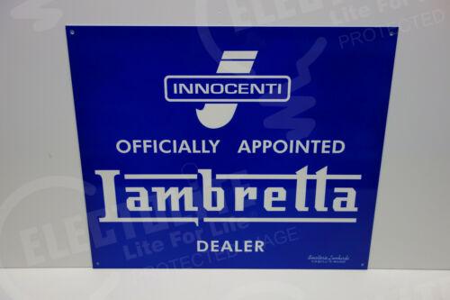 "LAMBRETTA INNOCENTI DEALER SIGN DIE CUT Sign MINT ENAMEL 15"" BY 18"" BEAUTIFUL!"
