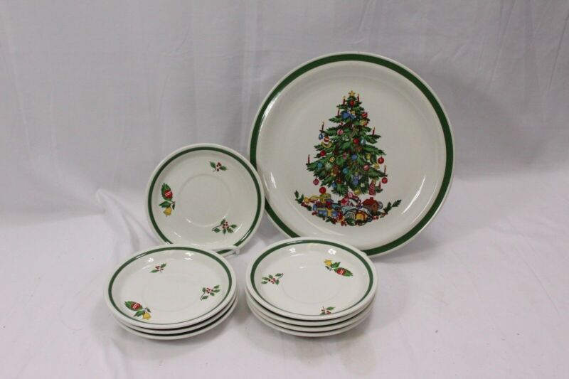 International China Noel Dinner Plate and Saucers Lot of 8