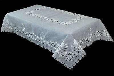 White Silver Embroidered Rectangle Organza Tablecloth Napkin Wedding Bridal