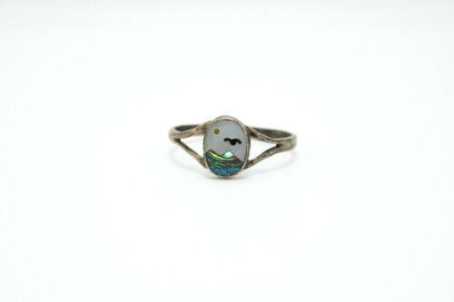 Vtg Mexico Sterling Silver Mother of Pearl Abalone Onyx Inlay Bird Ocean Ring