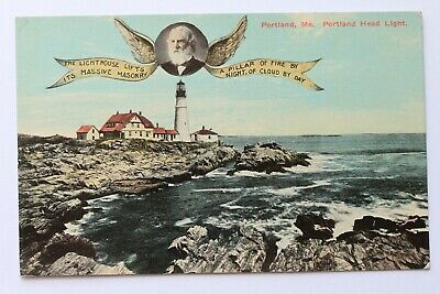 Old postcard PORTLAND HEAD LIGHT, LONGFELLOW, PORTLAND, MAINE for sale  USA