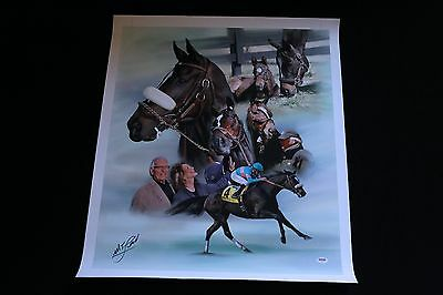 ZENYATTA MIKE SMITH SIGNED CANVAS GICLEE HORSE RACING PSA/DNA BREEDERSCUP HOF
