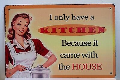 Kitchen House Home Funny Quotes Sayings Pin Up Retro Metal Tin Signs Plaques