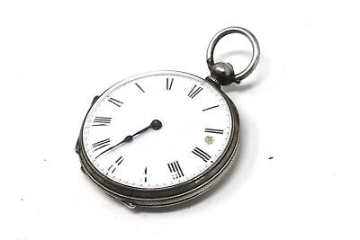 Ladies Antique Victorian Solid Silver Key Wind Pocket Watch Spares #27391