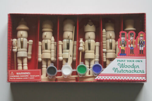 DIY 6 Paint Your Own Wood Christmas Ornaments NUTCRACKER Craft Set NEW FREE SHIP