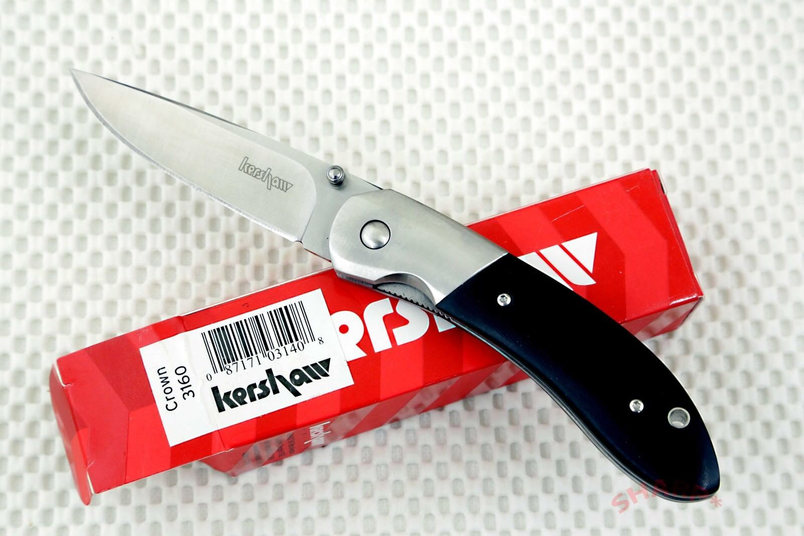 * 3160  Kershaw Crown Pocket Knife black micarta handle *new