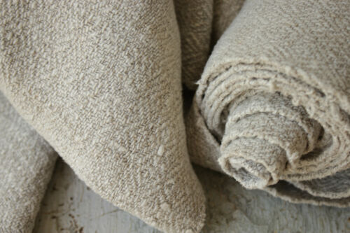 Antique Grain sack fabric complex weave putty gray tone damaged side by the yard