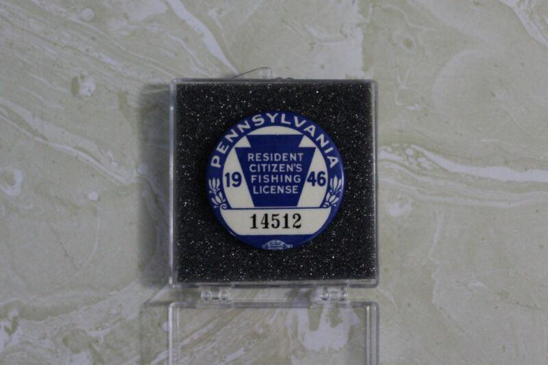 1946 PENNSYLVANIA FISHING LICENSE BADGE NO. 14512