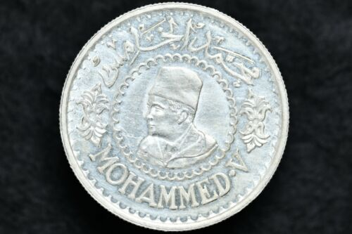 1956 Morocco 500 Francs Mohammed V Silver Coin Y#54