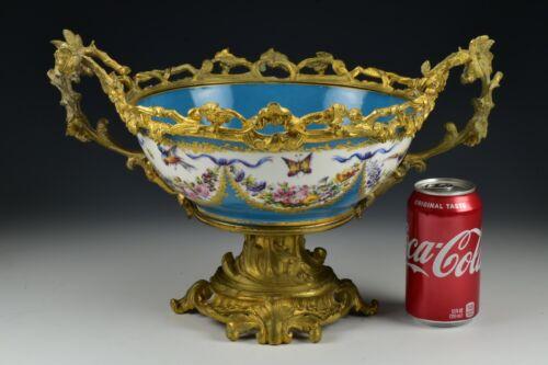 Antique Sevres French Porcelain Gilt Bronze Centerpiece Bowl 19th Century