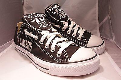 CUSTOM OAKLAND RAIDERS CONVERSE CHUCK TAYLOR BLACK WHITE SHOES NFL MEN - Custom Converse Shoes
