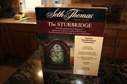 Seth Thomas Sturbridge Quartz Mantle Clock Model 1503 Glass Cherry Wood