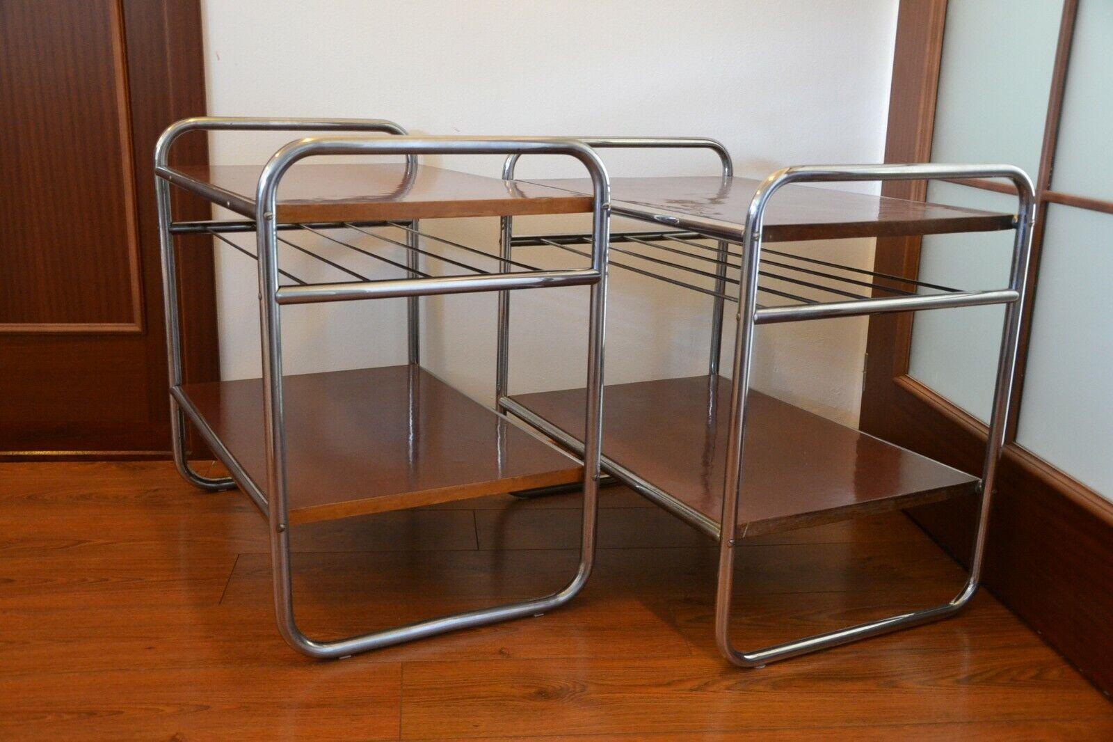 Original Bauhaus Regal Art Deco Chrom Stahlrohr Tisch