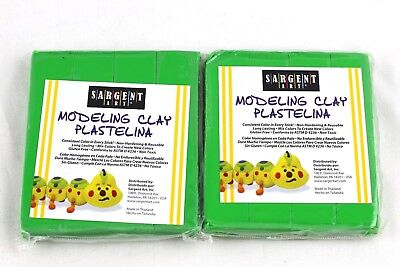 Sargent Art 1 Pound Solid Green Modeling Clay 2 Pack, 2 lbs Total, NIP