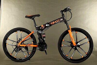 "Folding Mountain Bike 26"" Disc Brakes 21 Speed Bicycle Full Suspension"
