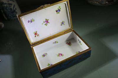 Antique Sevres Gilt Porcelain & Bronze Dresser Box, Rosebuds Inside - Beautiful