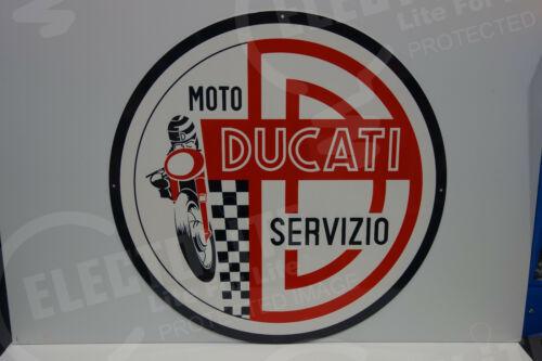 MOTO DUCATI SERVIZIO DEALERSHIP MEDALLION SIGN. HUGE 30 INCHES IN DIAMETER