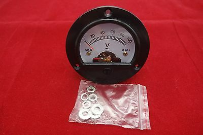 Ac 0-100v Round Analog Voltmeter Voltage Panel Meter Dia. 66.4mm Dh52
