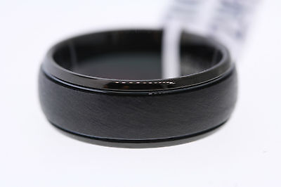 Grooved Polished Edge (Triton 8mm Black Tungsten Satin Textured Center Grooved Polished Edge Band)