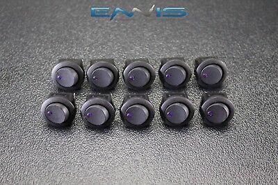 10 Pcs Round Rocker Switch 34 Hole 16 Amp 12v 3 Pin Purple Led Toggle Ibrrsp