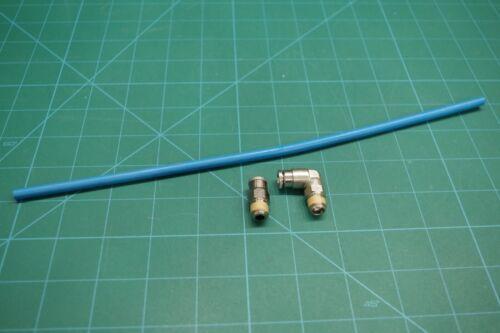 "Macroline kit.  Two fittings (1 90 and 1 straight) w/ 12"" hose.  BLUE.  RARE!"