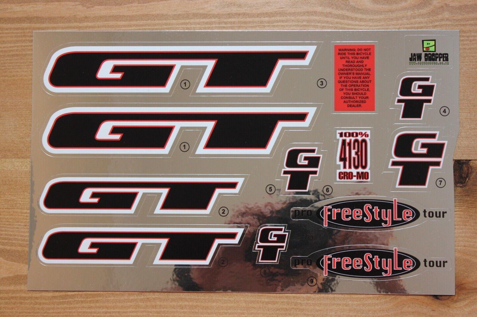 Chrome Backing Reproduction 1998 GT Pro Performer BMX Decal Set