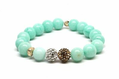Druzy Agate Beaded Bracelet W/ Gold Color Arrow & Sea Green and Dark Brown Beads