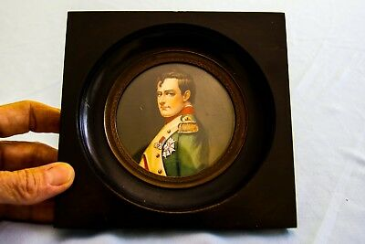 Vintage Hand Painted Signed Miniature Portrait of Napoleon Bonaparte
