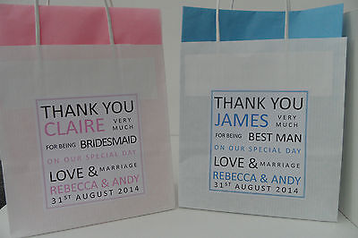 REDUCED TO ONLY 99p Personalised Paper Wedding Favour Party Thank You Gift Bags