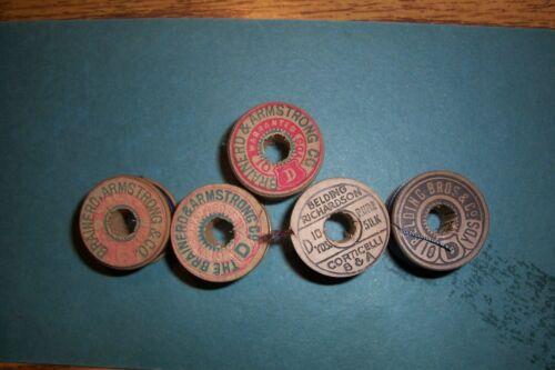 "5 Antique Wooden Spools Silk  Thread ""Collectible"""