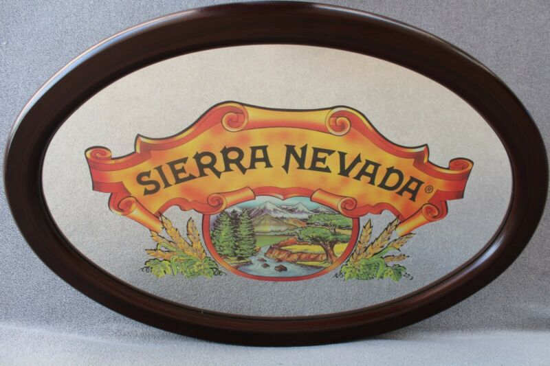 🍺 Vintage Sierra Nevada Beer Wood Frame 25x17 Oval Bar Mtn Mirror~Sign~Light 🍺