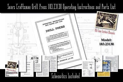 Sears Craftsman King Seeley Drill Press 103.23130 Service Manual Parts List