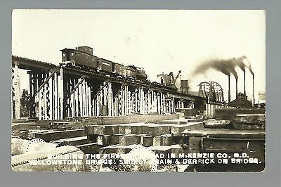 Williston NORTH DAKOTA RP c1910 CONSTRUCTION RAILROAD Train Yellowstone River