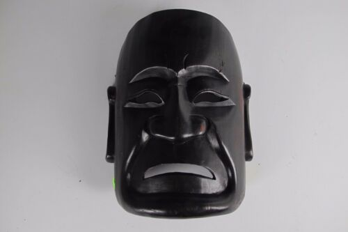 A Chinese sad upset angry crying Buddha Mask black hard dark wood actor clown