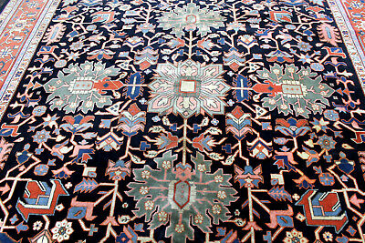 9X12 SIGNED VINTAGE HAND KNOTTED VEGETABLE DYE KHOY TABRIZZ ORIENTAL WOOL RUG