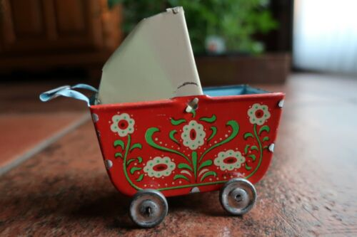 Vintage Small Tin Doll Buggy with Sun Shade on Wheels