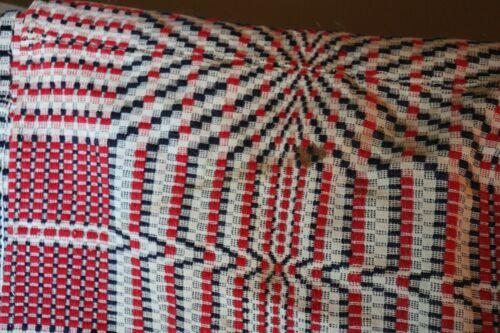 Antique Overshot Jacquard Coverlet Red, white and Blue  Vintage Bedding