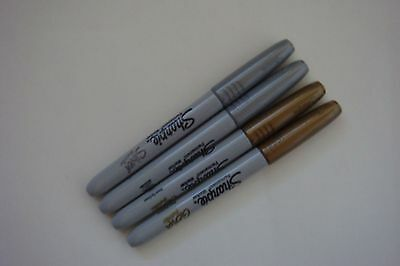 New Set Of 4 Metallic Gold Silver Sharpie Permanent Pens Free Ship