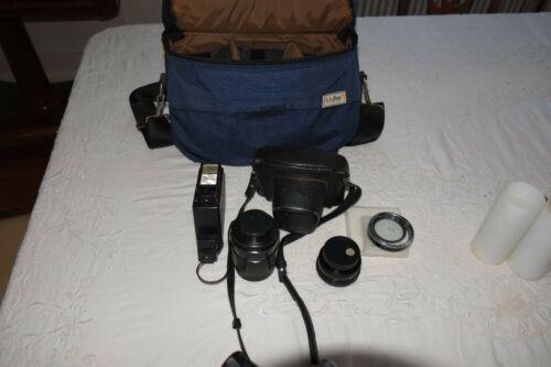 Vintage Pentax Spotmatic F with Three lens, Flash & Bag